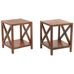 End Tables or Nesting Table in the Style of Jean Royère, Brown Wood, France