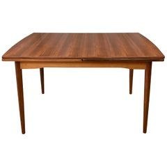 Large Vintage Danish Draw Leaf Extendable Teak Dining Table