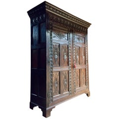 Antique 17th Century Style Oak Livery Hall Cupboard, circa 1790