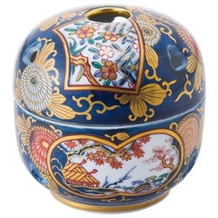 Japanese Ko-Imari Blue Gilded Porcelain Decorative Incense Burner, Contemporary