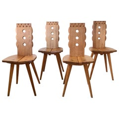 Set of 4 Oak Chairs, France, circa 1950