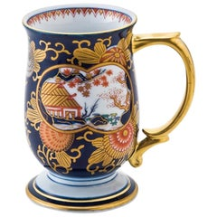 Japanese Ko-Imari Gilded Blue Short Stem Porcelain Mug, Contemporary