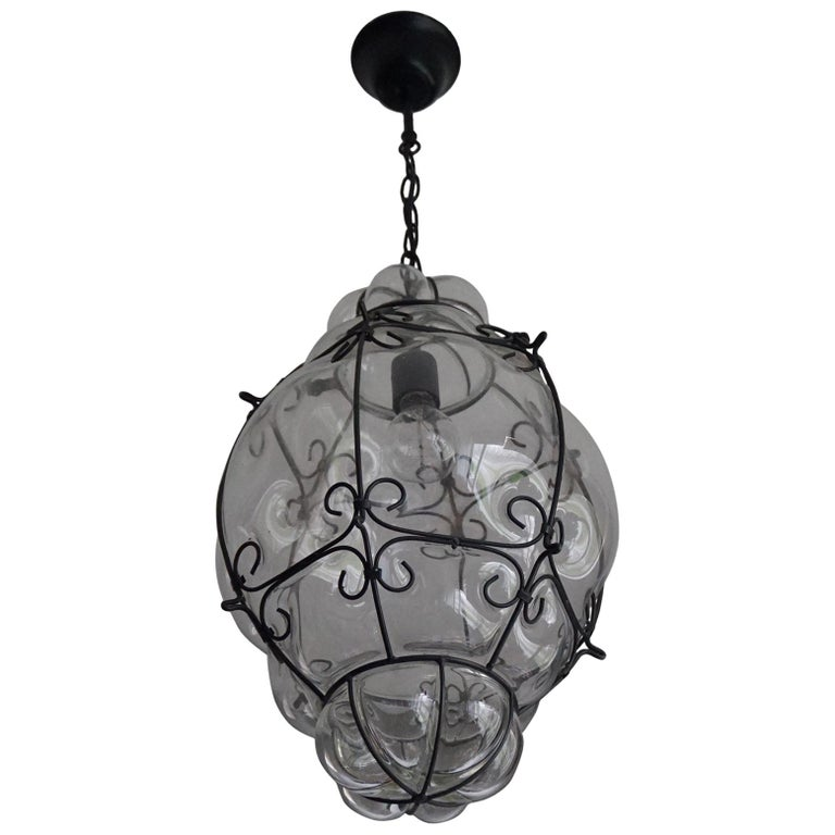 Large 20th Century Venetian Mouth Blown Glass in Metal Frame Pendant Light