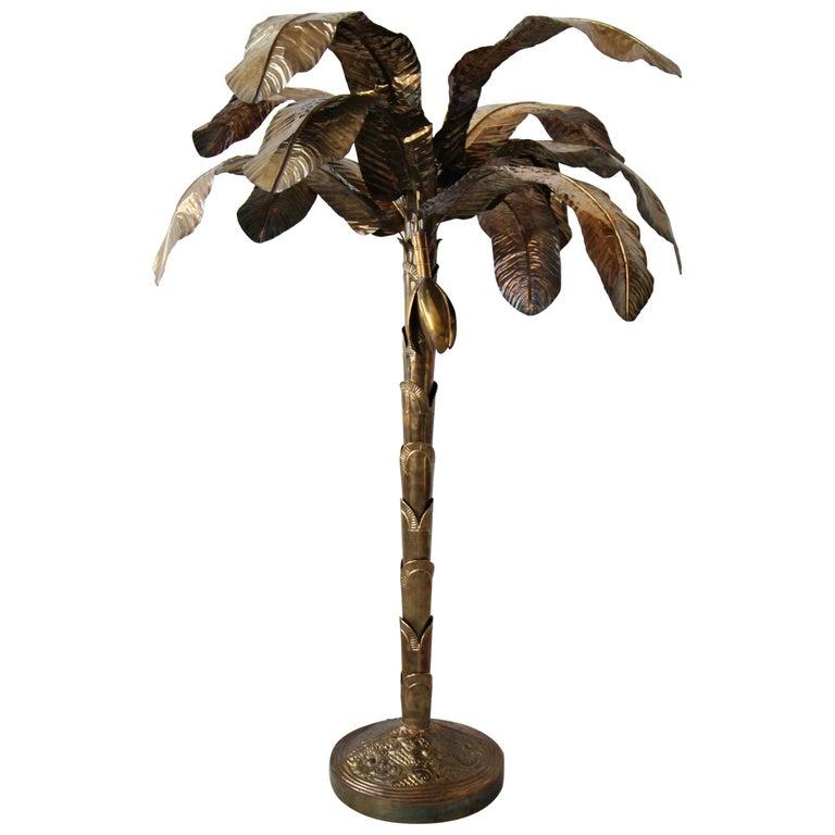 Vintage Regency Brass Banana Leaf Palm Tree