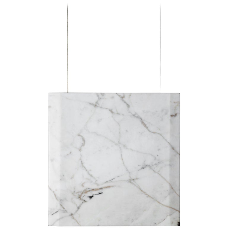 """""""Werner Sr. Calacatta"""" Contemporary Ceiling Marble Lamp, in Stock For Sale"""