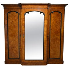 19th Century Victorian Burr Walnut Wardrobe