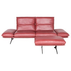 Koinor Francis Designer Leather Sofa Footstool Set Red Three-Seat Couch