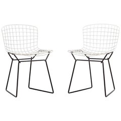 1950s Chrome-Plated Steel Wire Pair of Kids Side Chairs by Harry Bertoia 'b'
