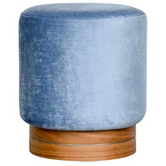 Contemporary Little Pouf in Velvet on Walnut Base with Steel Decor