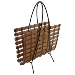 1950s Pine and Wrought Iron Magazine Rack Carl Auböck Style