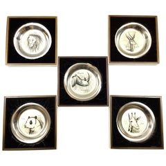 Set of Five Engraved English Silver Decorative Plates by Bernard Buffet