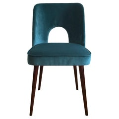 Midcentury Chair in Sea Blue Velvet by Leśniewski, 1960s