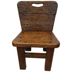 19th-20th Century Wooden Rural Farmers Children Chair