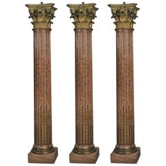 Three Neoclassical Style Granite Corinthian Columns after Gouthière, circa 1880