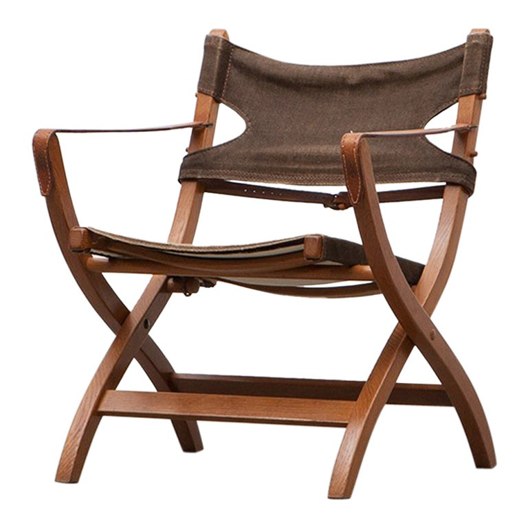 1950s Wooden Safari Chair by Poul Hundevad