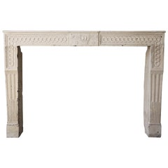 Antique French Fireplace, 19th Century, French Limestone, Louis XVI Style