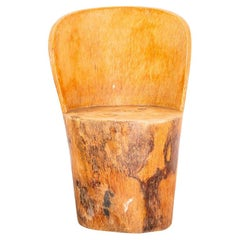 Sculpted Solid Palmwood Trunk Chair in the Manner of Zanine Caldas, Brazil 1970s