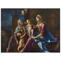 Sacra Famiglia, Francesco Cozza 17th Century Oil on Canvas Religious Painting