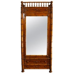 French 19th Century Faux Bamboo Cabinet with Mirrored Door
