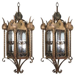 Mizner Outdoor Pair of Iron Lanterns-Rusticated Finish
