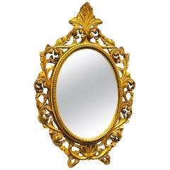 Mirror Hollywood Regency Style Gilded Wood Vintage, Italy, 1960s