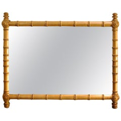 French Faux Bamboo Wall Mirror in Cherrywood with New Glass