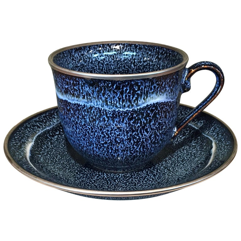 Japanese Hand-Glazed Blue Porcelain Cup & Saucer by Contemporary Master Artist