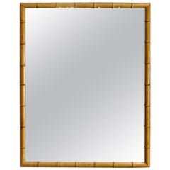 French Faux Bamboo Wall Mirror in Solid Turned Cherrywood