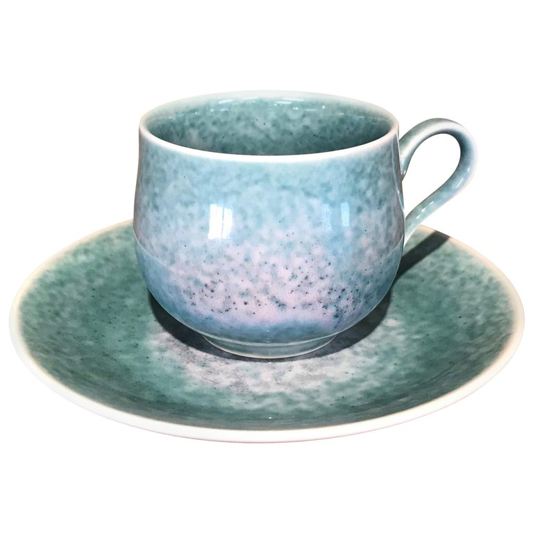 Japanese Turquoise Hand-Glazed Porcelain Cup and Saucer by Master Artist
