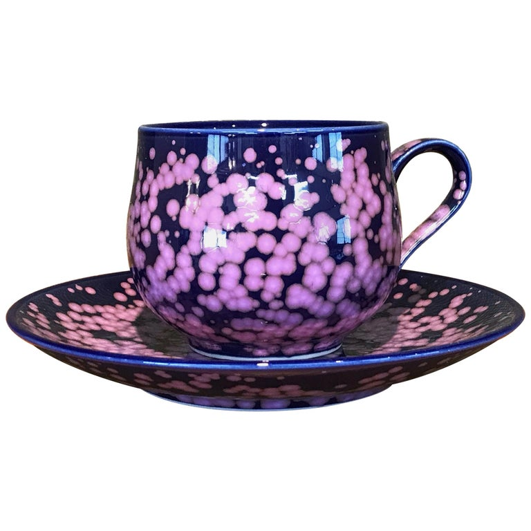 Hand-Glazed Japanese Blue Porcelain Cup and Saucer by Contemporary Master Artist