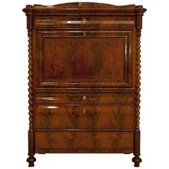 Biedermeier  Mahogany Secretary Desk, circa 1850, after Renovation