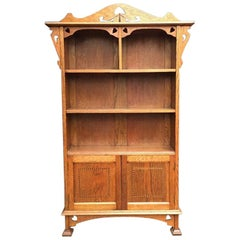 Arts & Crafts Oak Bookcase with Pierced Stylized Floral and Heart Cut-Outs