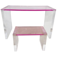 Pink Acrylic Desk and Matching Bench