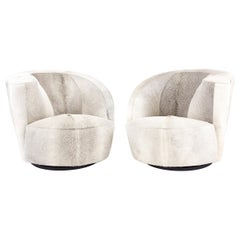 Pair of Vladimir Kagan for Directional Nautilus Chairs in Brazilian Cowhide