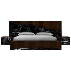 Contemporary Godafoss Marble, Ebony Bed Frame, Marble, Ebony