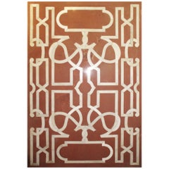 Italian Red Sandstone Tabletop with White Marble Geometric Inlays
