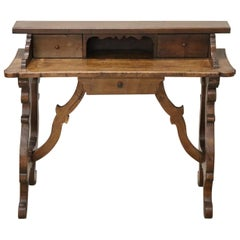 19th Century Italian Florence Renaissance Style Walnut Writing Desk, Lyre Legs