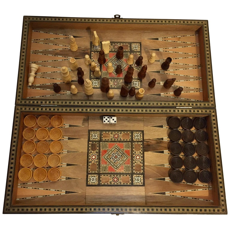 Large Vintage Complete Syrian Inlaid Mosaic Backgammon and Chess Game For Sale
