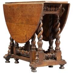 Charles II / William & Mary Oak Platform Base Gate Leg Dining Table, circa 1680