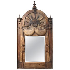 19th Century French Hand Carved Wooden Mirror
