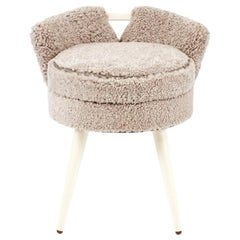 Paul Frankl Vanity Stool Upholstered in Shearling