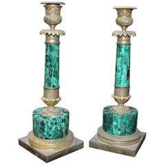 19th Century Pair of French Brass and Malacuite Candleholders