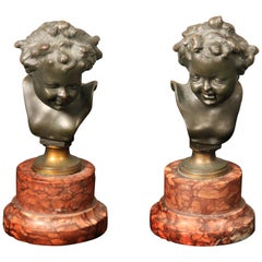 Pair of Late 19th Century Bronze Busts After Clodion