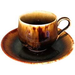 Japanese Black Hand-Glazed Porcelain Cup & Saucer by Contemporary Master Artist