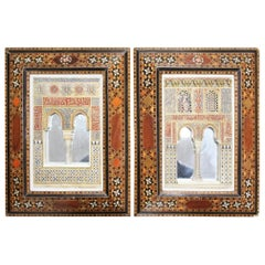 1930s Pair of Granada's Alhambra Palace Framed Stucco Mock-Ups