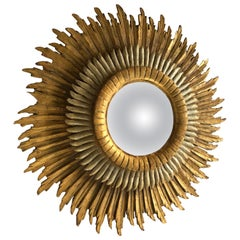 Spanish Baroque Double Layered Gold Leaf Gilt-Wood and Silvered Sunburst Mirror