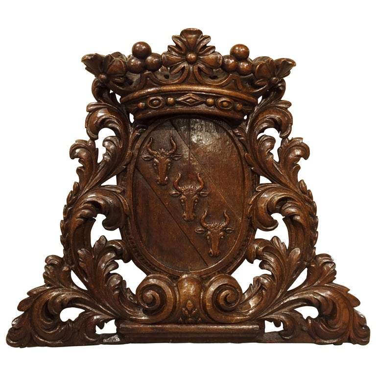 Antique Carved Oak Armorial Bull Heads Plaque, 19th Century