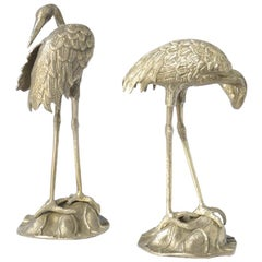 Decorative Pair of Nickel-Plated Brass Crane Bird Sculptures