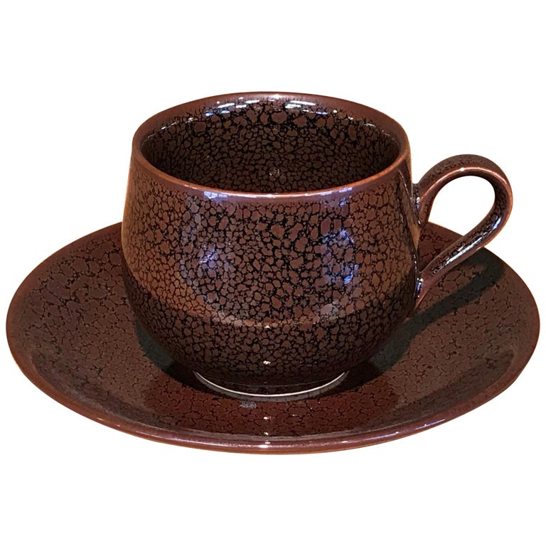 Japanese Brown Hand-Glazed Porcelain Cup & Saucer by Contemporary Master Artist