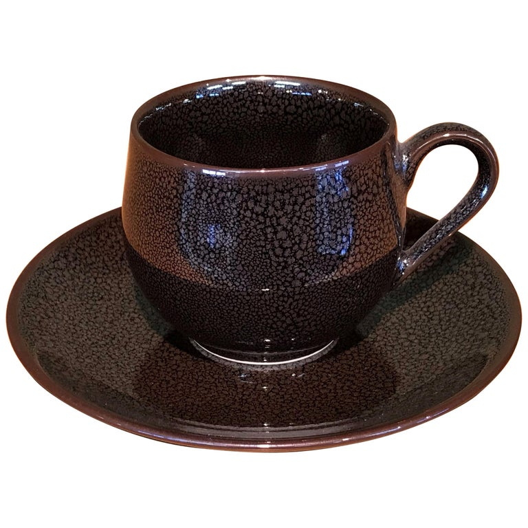 Japanese Hand-Glazed Brown Porcelain Cup & Saucer by Contemporary Master Artist